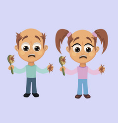 Boy and girl with hair loss symptom vector