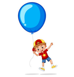 boy with giant blue balloon vector image vector image