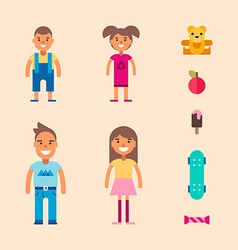 Children and teenagers and their toys and stuff vector
