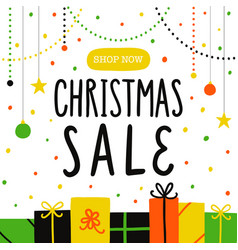 Christmas sale poster or flyer template vector