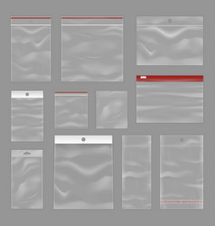cleartransparent zip bags realistic set vector image