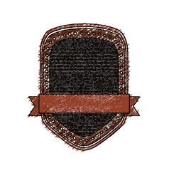Color pencil heraldic shield with striped inside vector