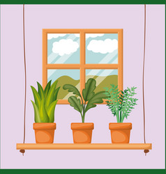 Colorful background with home window with potted vector
