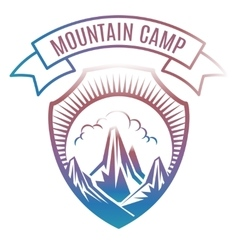Colorful mountain camp label design vector image vector image