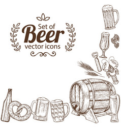 corner frame of beer icons vector image vector image