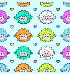 Cute sheep lamb face seamless pattern vector