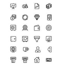 Finance line icons 3 vector