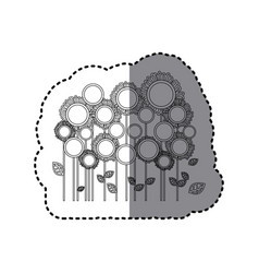Grayscale sticker with sunflowers field vector
