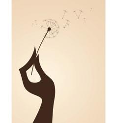 Hand with dandelion vector