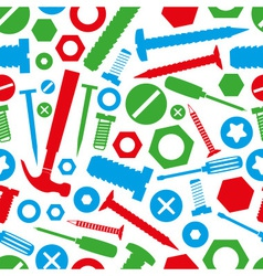 Hardware screws and nails with tools color vector