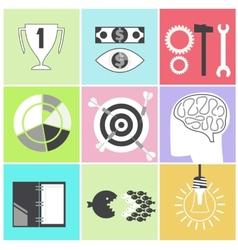 Icon set brain light bulb darts target fish eye vector