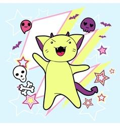 Kawaii halloween cat and creatures vector