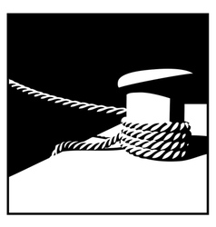 Knecht and mooring ropes black and white vector