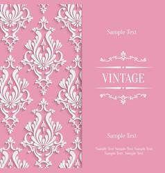 Pink 3d Vintage Invitation Card Template vector image