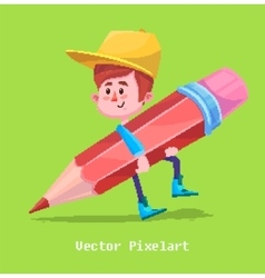 Pixel Funny Boy Isolated on yellow background vector image vector image