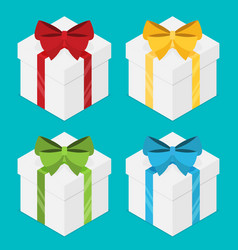 Present boxes set with ribbons isometric vector