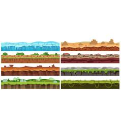 seamless cartoon landscape design set vector image