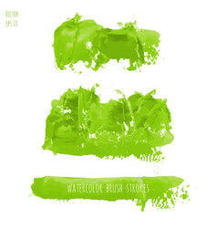 Set of green watercolor texture backgrounds vector
