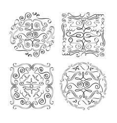 set of ornate vintage design elements with vector image