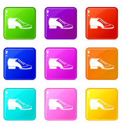 Tango shoe icons 9 set vector