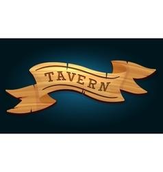 Tavern wooden signboard vector