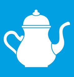 Traditional turkish teapot icon white vector