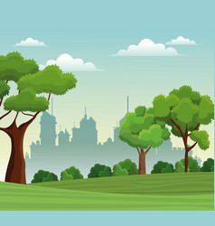tree landscape park nature city background vector image