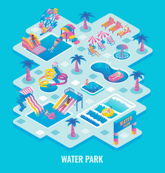 water park concept flat isometric vector image
