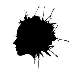 Woman face profile ink blot vector