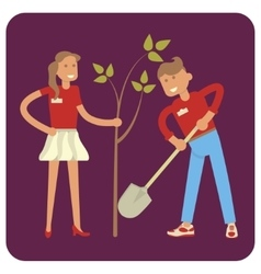 Young volunteers planting trees vector image