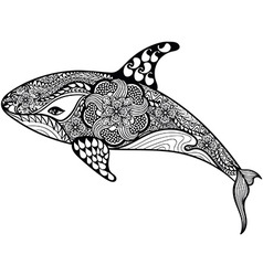 Zentangle stylized Sea Shark Hand Drawn isolated vector image