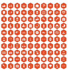 100 health icons hexagon orange vector