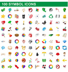 100 symbol icons set cartoon style vector