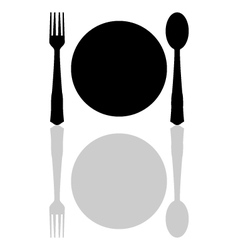Plate with cutlery vector