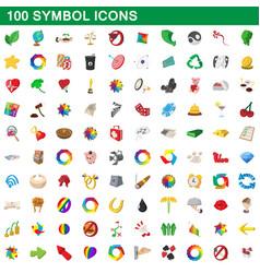 100 symbol icons set cartoon style vector image