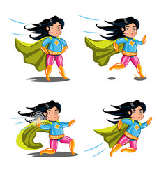 Female superhero action poses collection vector