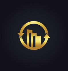 Gold business finance building construction arrow vector