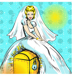 pop art of bride sitting on vector image