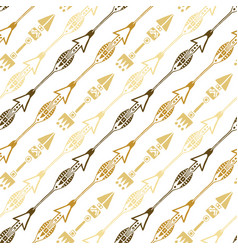 seamless background of ethnic arrow in gold vector image