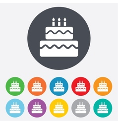 Birthday cake sign icon Burning candles symbol vector image
