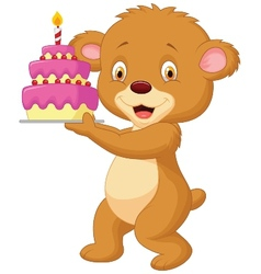 Bear cartoon with birthday cake vector