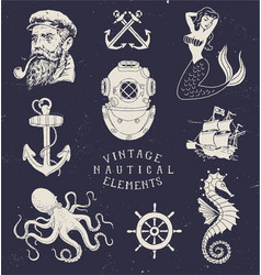Vintage Hand Drawn Nautical Set vector image