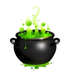 Black cauldron with green witches potion vector