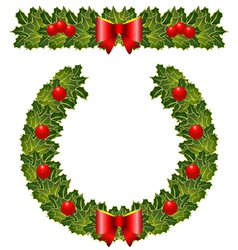 Christmas holly garland and wreath vector
