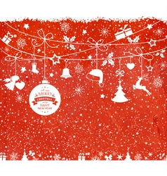 Red christmas background with hanging vector