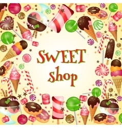Sweet shop poster with candies and lollipops vector image