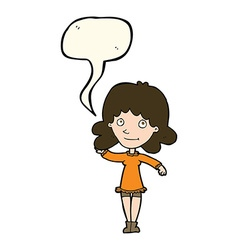 Cartoon friendly woman waving with speech bubble vector