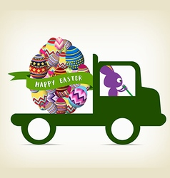 Rabbit carrying a gift on the car for happy easter vector
