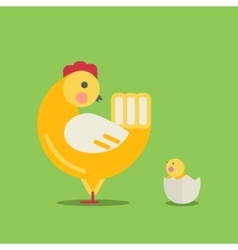 Cute cartoon hen and chick vector