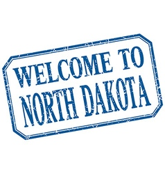 North dakota - welcome blue vintage isolated label vector